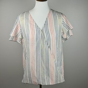 NWT Michael Kors Short Sleeve Pink/Blue Stripe Top